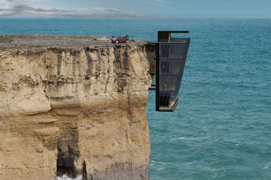 Una casa modulare sospesa sull'oceano