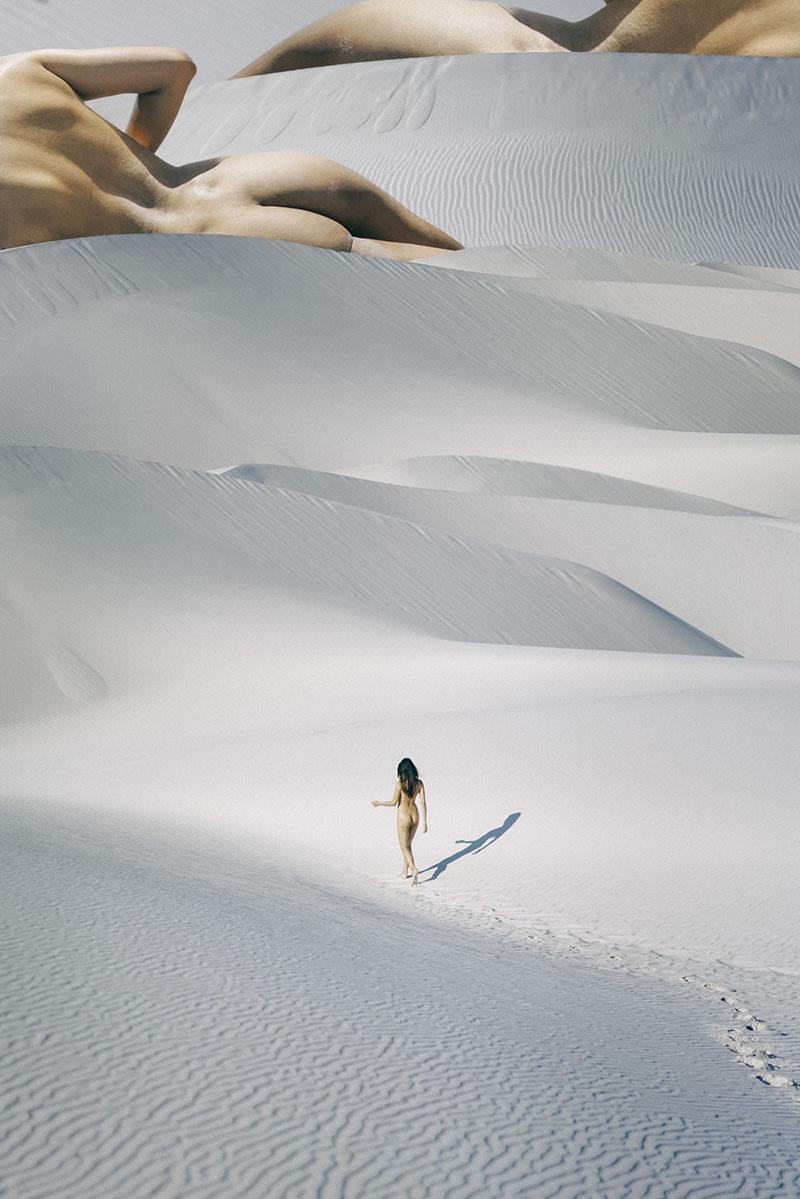 Tia Nguyen tra le dune di sabbia per il collage di Maison Vignaux