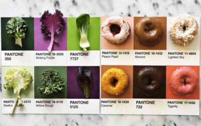 Palette di colori Pantone da vari tipi di cibo