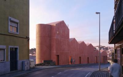 Una particolare casa in cemento rosso in Portogallo