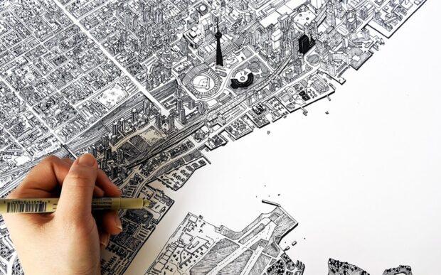 La Toronto disegnata a mano di Kathleen Fu