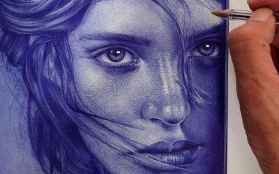 Ritratti iperrealisti fatti con una penna blu, Paulus Architect